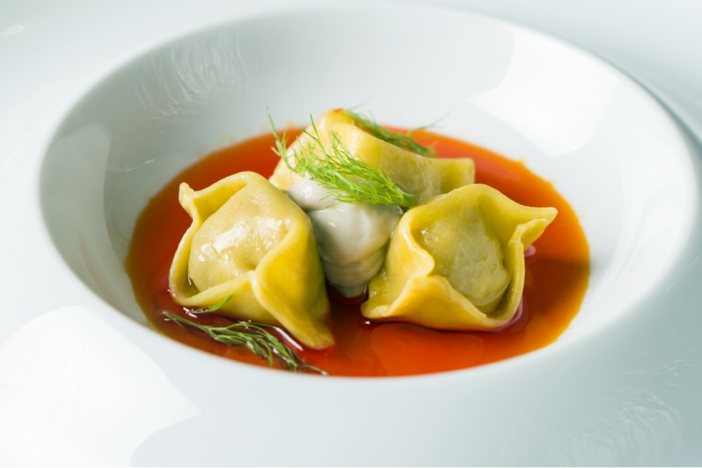 RAVIOLI PASTA FILLED WITH DENTEX FISH IN 'NDUJA WATER